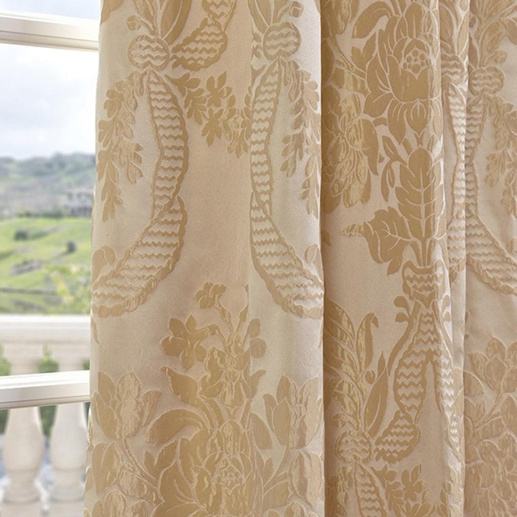 Magdele Embroidered Window Curtain Damask Floral Leaves Pattern Lined Jacquard Single Panel Energy Efficie Window