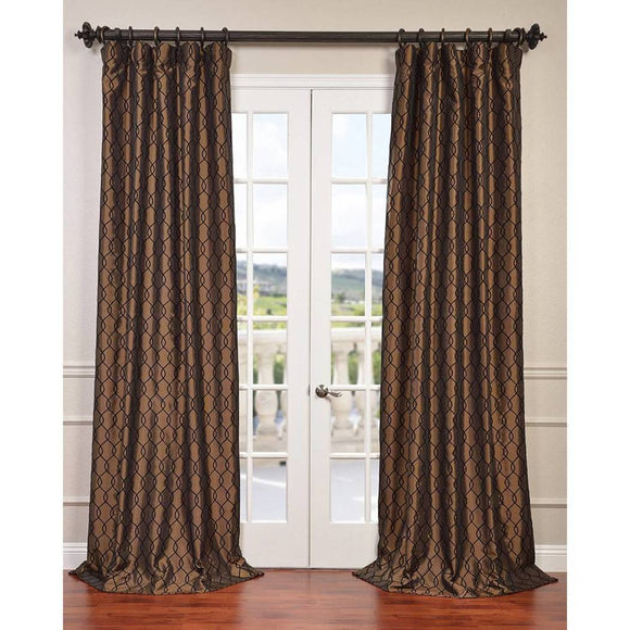 Damask Embroidered Sheen Fine Weave Faux Silk Taffeta Window Curtain Single Panel Fabrics Window Treatment Lined