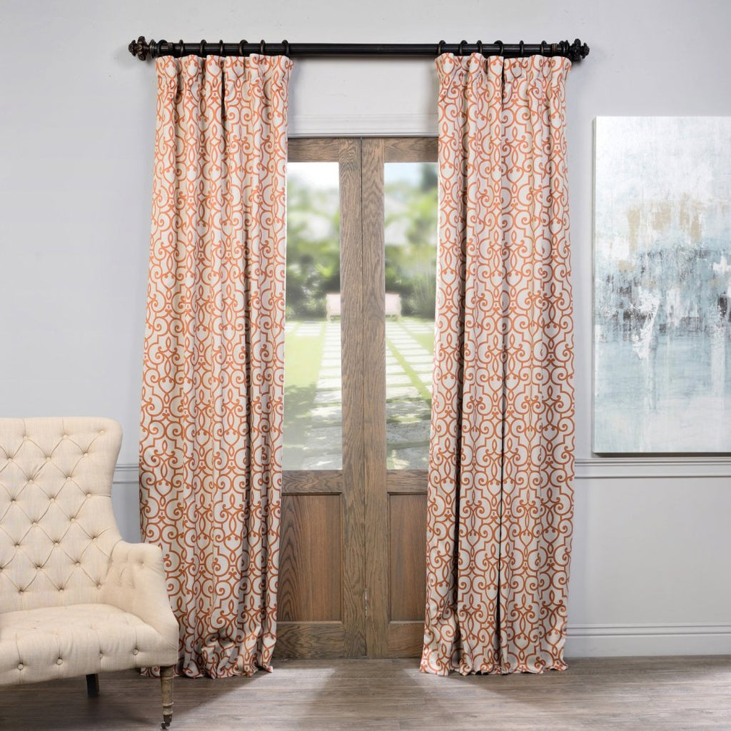 Nouveau Ironwork Trellis Window Curtain Set Moroccan Geometric Abstract Panels Pair Blackout Thermal Insulated Contemporary Window