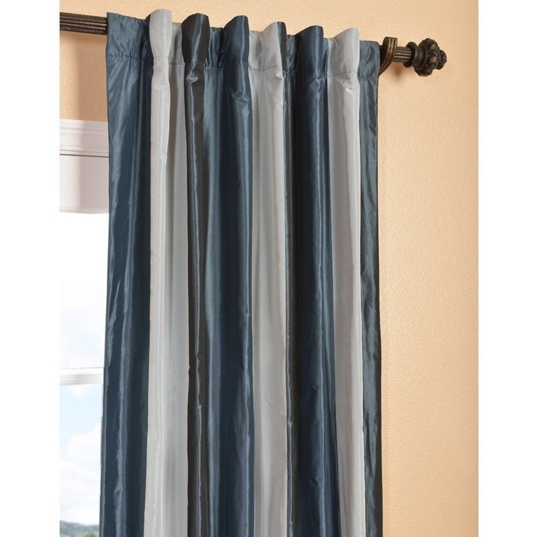 Rugby Stripes Faux Silk Taffeta Window Curtain Single Panel Window Treatment Striped Insulated Lined Vertical Lines Classic
