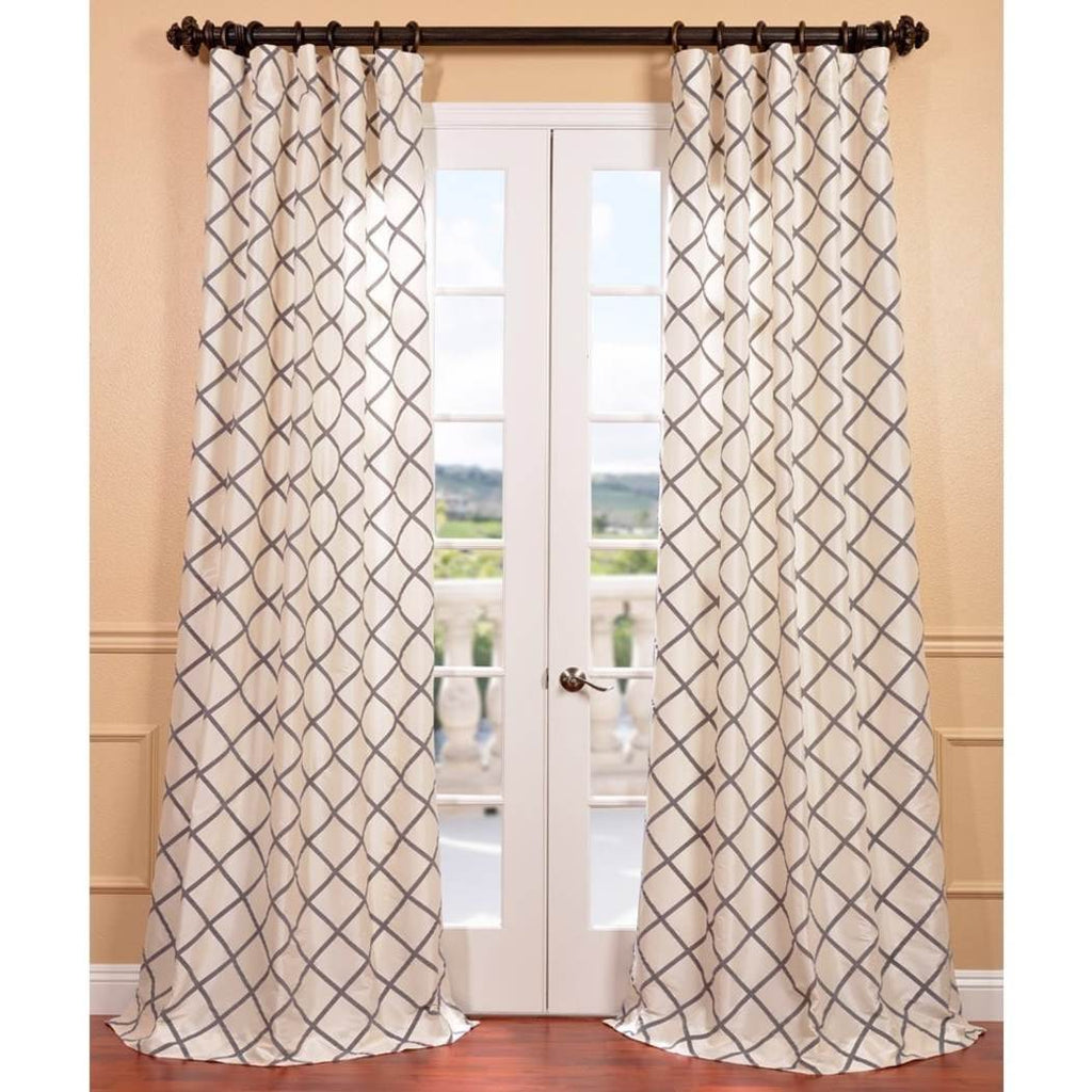 Girls Flocked Faux Silk Embroidered Curtain Single Panel Window Drapes Kids Themed Geometric Pattern Lined Rod Pocket