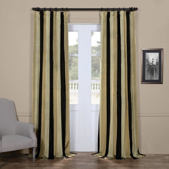 Rugby Stripes Faux Silk Taffeta Window Curtain Single Panel Window Treatment Striped Vertical Lines Classic