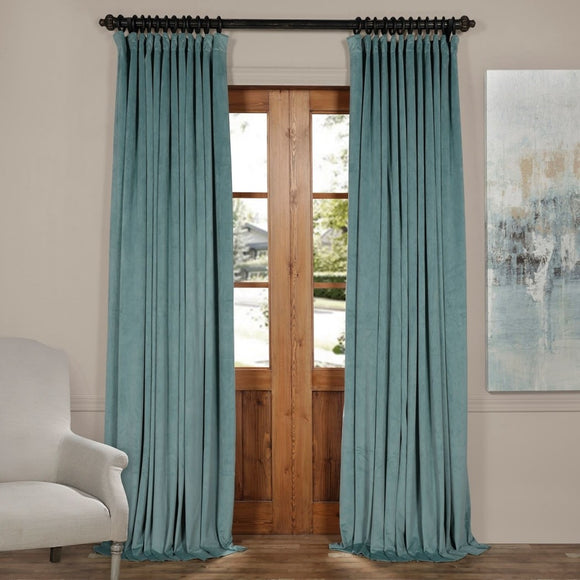 Girls Mist Doublewide Blackout Velvet Curtain Single Panel Allover Pattern Window Drapes Kids Themed Energy Efficient