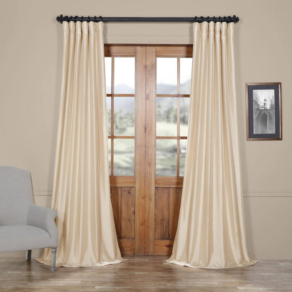 Faux Silk Taffeta Window Curtain Single Panel Fabrics Window Treatment Lined Energy Efficient