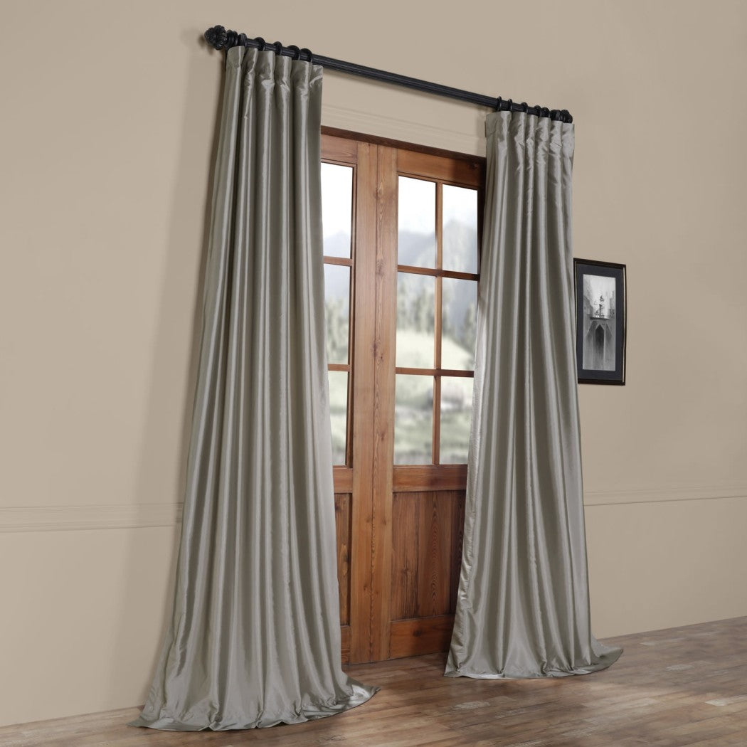 Faux Silk Taffeta Window Curtain Single Panel Fabrics Window Treatment Lined Energy Efficient Elegance