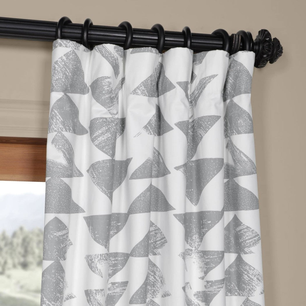 Window Curtain Geometric Straight Inverted Triangular Patterns Single Panel Energy Efficie Privacy Providing