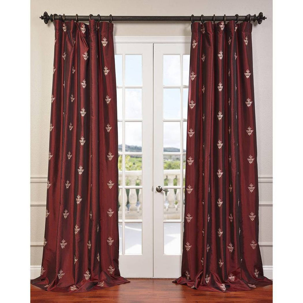 Syrah Trophy Embroidered Sheen Fine Weave Faux Silk Taffeta Window Curtain Single Panel Fabrics Window Treatment Lined Gorgeous