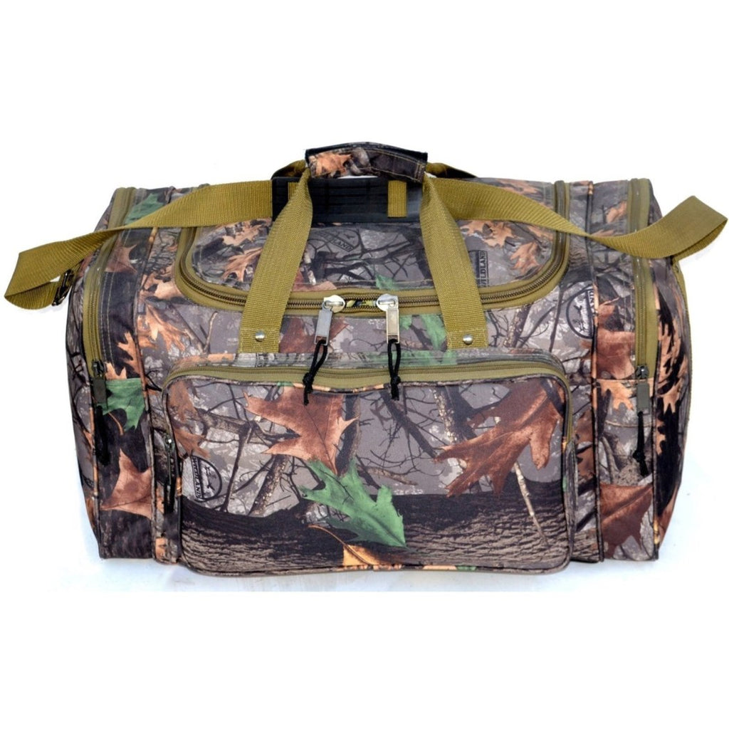 Green Brown Wildland Camo Duffel Bag 19 Inch Camouflage Pattern Polyester - Diamond Home USA