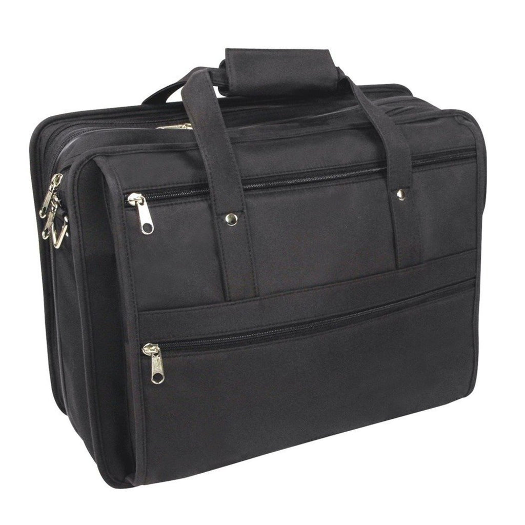 Black Contractor Briefcase Rubber Backed Microfiber Lightweight - Diamond Home USA