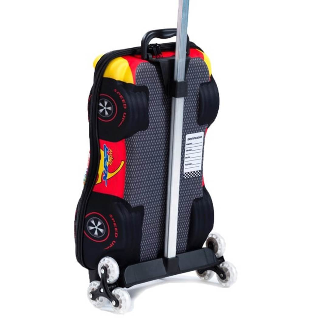 Red Yellow Rolling Briefcase Kids 3D Super Power F1 3 wheel Rolling Suitcase Cars Pattern Aluminum Zipper Closure Double Meshed Internal Compartments - Diamond Home USA