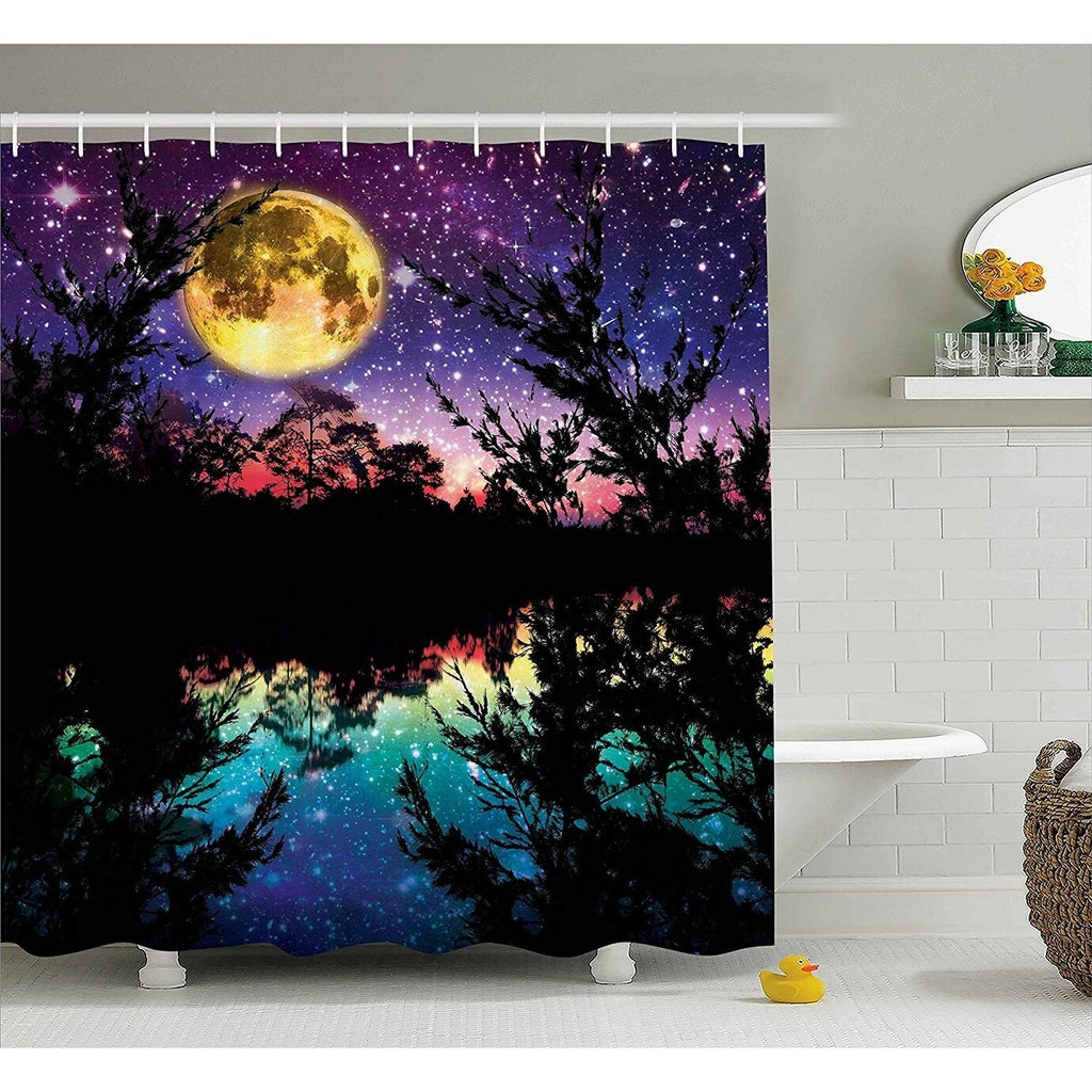 Fabric Shower Curtain Nature Artwork Décor Purple Graphic Print Victorian Polyester - Diamond Home USA