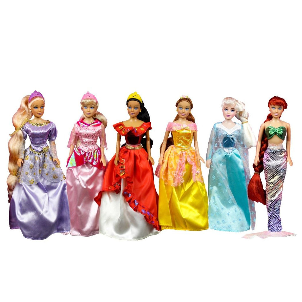8 & Pretty Princess Doll Set Girls Dress Up & Pretend Play Hours 8 Different Princess Styles Outfits Choose from - Diamond Home USA