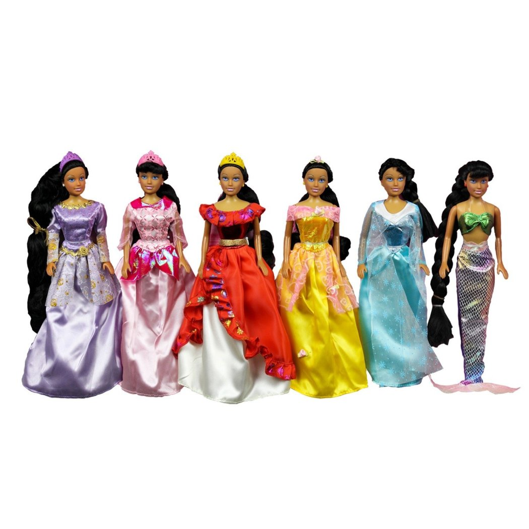 6 Fairy Tale & Pretty Princess Doll Set Girls Dress Up & Pretend Play Hours 6 Different Princess Styles Outfits Choose from - Diamond Home USA