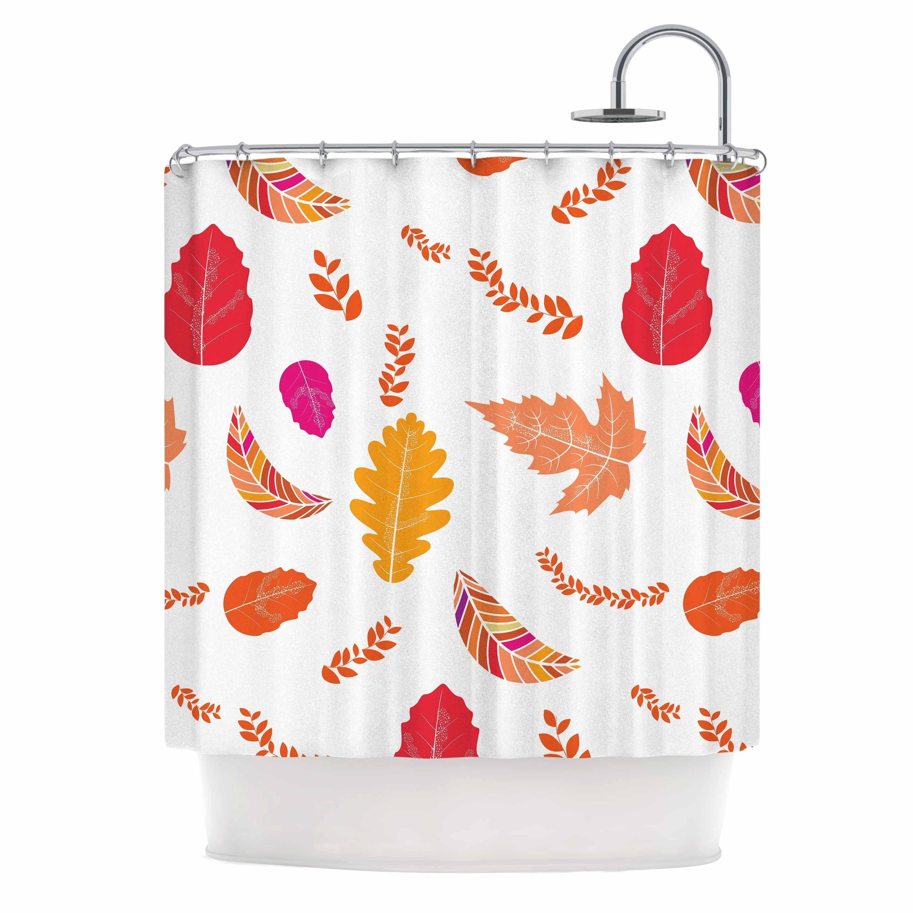 "Famenxt "" Autumn Fall Leaves Pattern"" Orange Multicolor Nature Pattern Illustration Digital Shower Curtain White Polyester - Diamond Home USA"