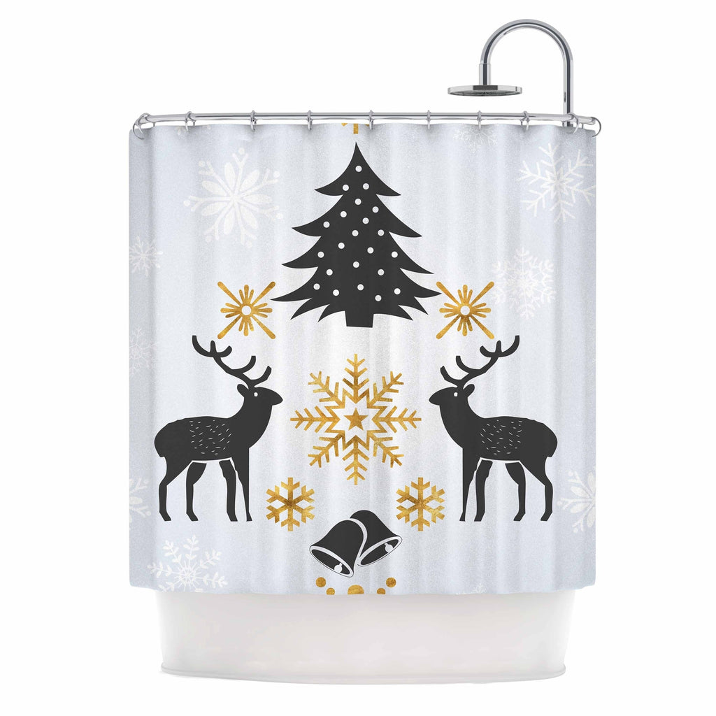 "Famenxt "" Merry Xmas Joy Love Peace"" Blue Gold Holiday Nature Illustration Digital Shower Curtain Polyester - Diamond Home USA"