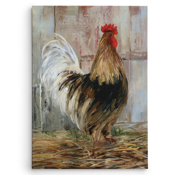 Rooster Pattern Wall Art Rectangle Farmhouse Theme Hanging Picture Chicken Farm House Cottage Lake House Wood