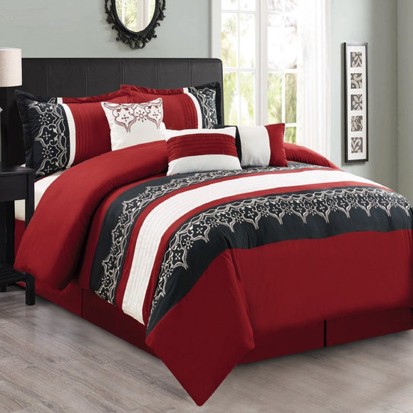 Embroidered Comforter Set Geometric Bedding Medallion Pattern Master Bedroom Pintuck Bold Line