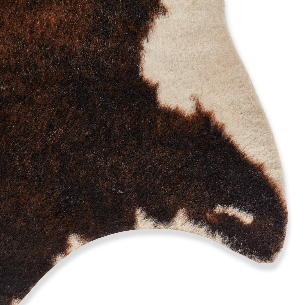 6'2 x 8 Off White Brown Rawhide Area Rug Rustic Beige Cow Carpet Diary Farm Themed Animal Pattern Farm Country Flooring Charm Faux Fur Indoor - Diamond Home USA