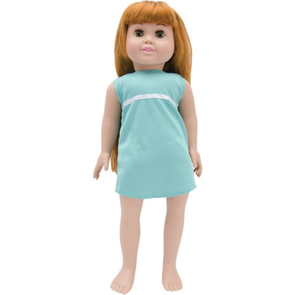 18 inch Girls Pretty Green Eyes Red Hair Baby Doll Cute Brushing Stuffed Posable Plastic Sleeping Eyes Orange Ginger Blue Teal Dress White Caucasian - Diamond Home USA