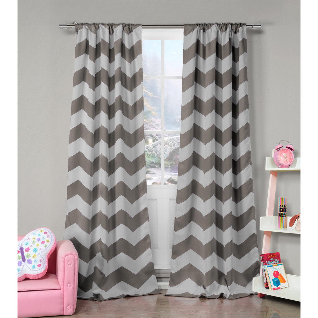 Girls Ony Chevron Window Curtain Pair Panel Set Bold Zig Zag V Shaped Pattern Window Treatment Luxury Elegant Stunning Kids