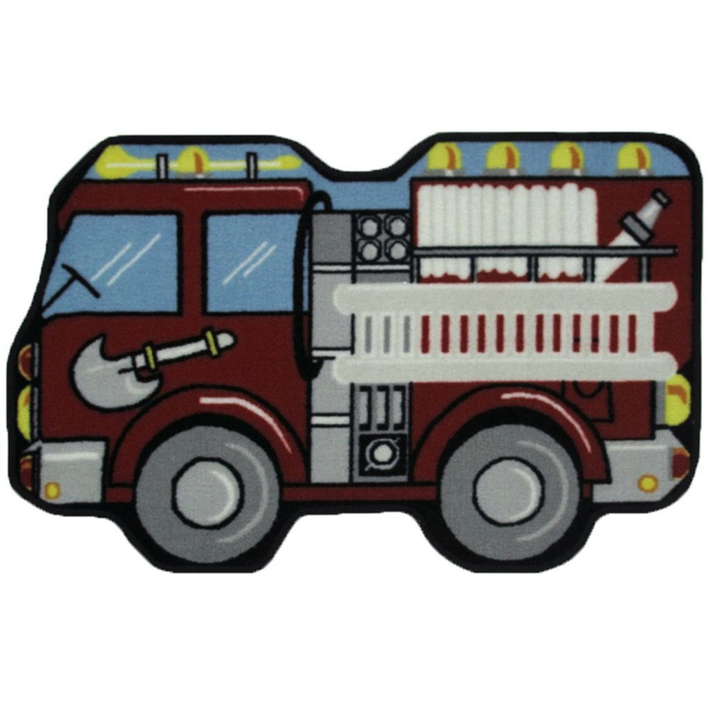 "2'6""x3'9"" Kids Red Fire Truck Printed Area Rug Indoor Graphical Pattern Playroom Rectangle Carpet Graphic Art Themed Vibrant Color Soft Synthetic - Diamond Home USA"