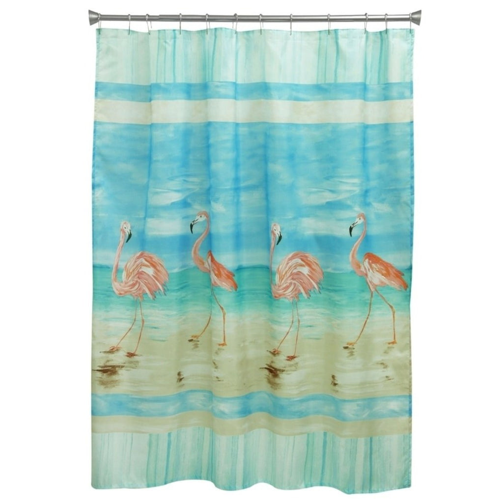 Flamingo Beach Shower Curtain Pretty Long Neck Flamingo Birds Pattern Gorgeous Coastal Novelty Bathtub Curtain Summer Holidays Vibrant - Diamond Home USA