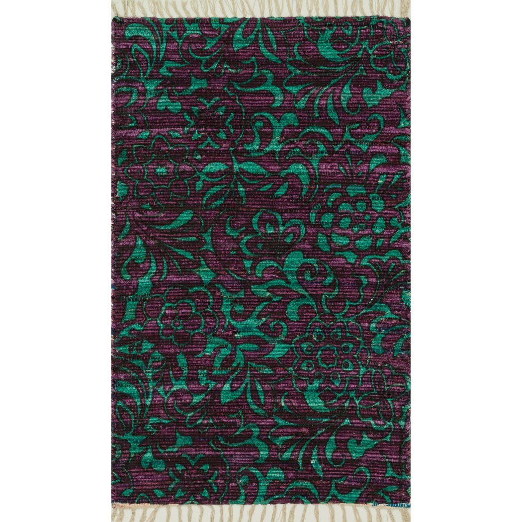 Girls Hand Tufted Floral Theme Area Rug (3'6 x 5'6) Gorgeous Flowers Design Pattern Adorable Textured Luxurious Comfort Turquoise Plum Colored Floor - Diamond Home USA