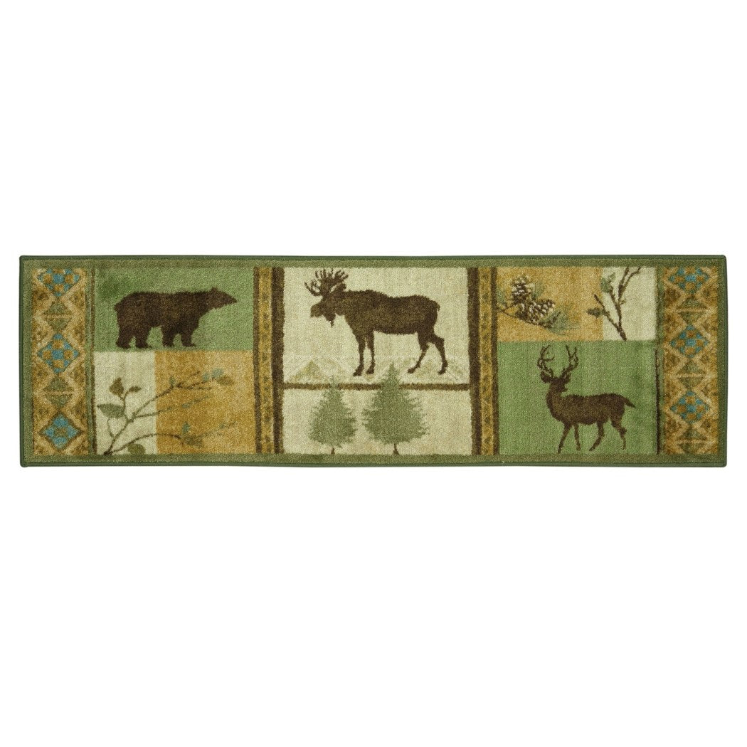 "1'8"" x 5' Beige Brown Blue Green Rustic Animal Wildlife Area Rug Rectangle Indoor Lodge Southwestern Moose Deer Bear Carpet Mat Nature Hunting Country - Diamond Home USA"