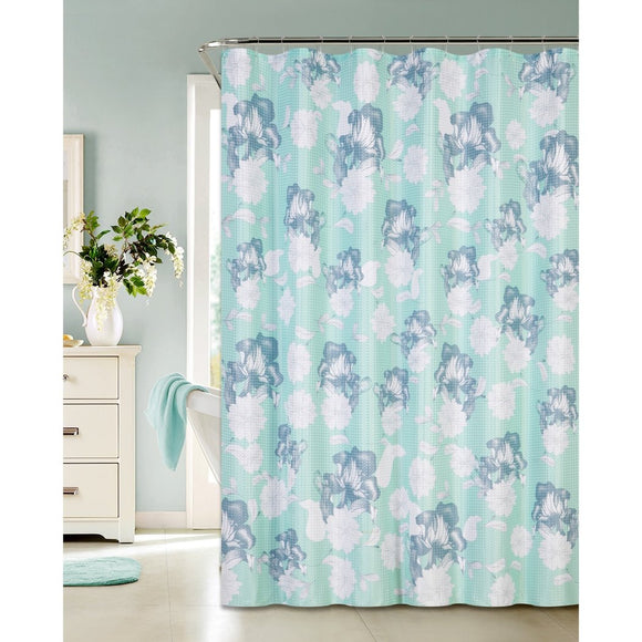 Aqua Blue White Graphical Nature Themed Shower Curtain Polyester Lightweight Detailed Flowers Waffle Textures Printed Abstract Floral Pattern Classic - Diamond Home USA