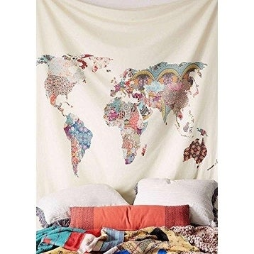 Floral World Map Tapestry Headboard Wall Bedspread Tapestry60