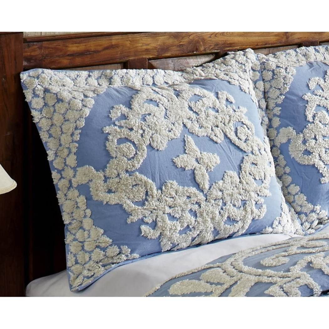 Oversized Chenille Bedspread Floral Motif Medallion Pattern Floor Oversize Bedding Extra Long Wide Drapes Over Edge Drops Down Flower Shabby
