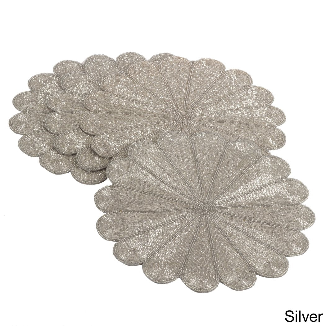 Flowers Design Placemats Set Bohemian Floral Pattern Place Mats Features Easy Clean Glass Beading Technique Spot Clean All Seasons Round Shape