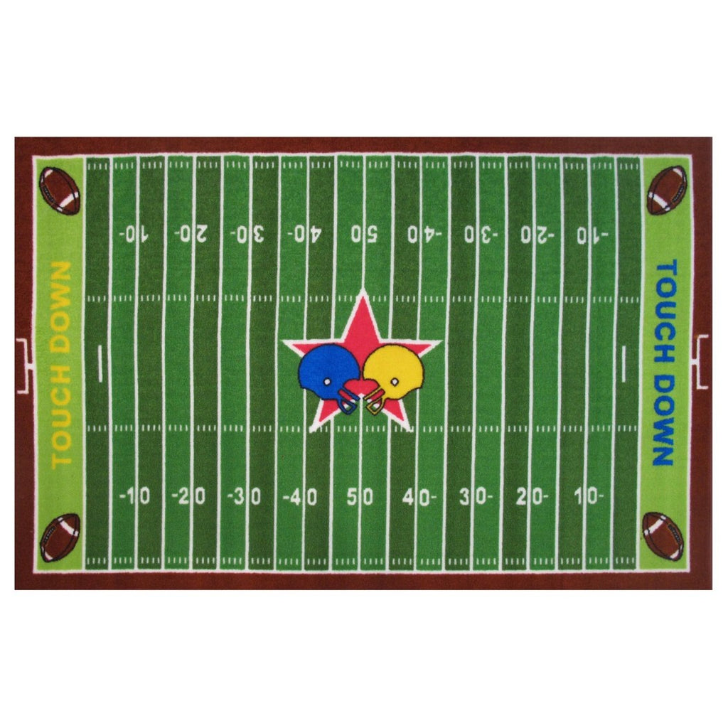 "3'3""x4'8"" Boys Green Brown Football Rugby Metered Field Helmets Printed Accent Rug Indoor Cabana Pattern Living Room Rectangle Carpet Sports Themed - Diamond Home USA"