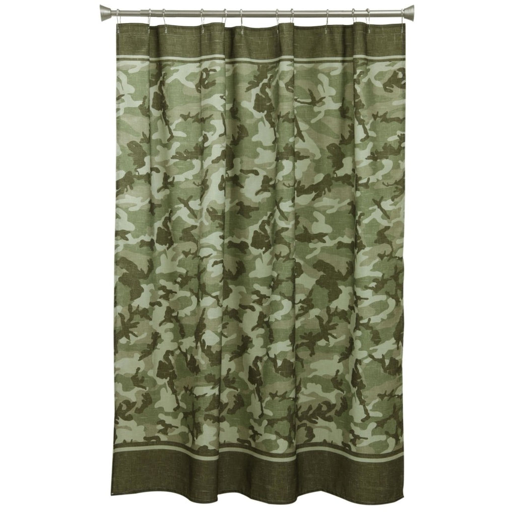 Boys Olive Green Army Camo Military Themed Shower Curtain Polyester Detailed Colorful Textures Printed Abstract Graphic Art Pattern Modern Elegant - Diamond Home USA