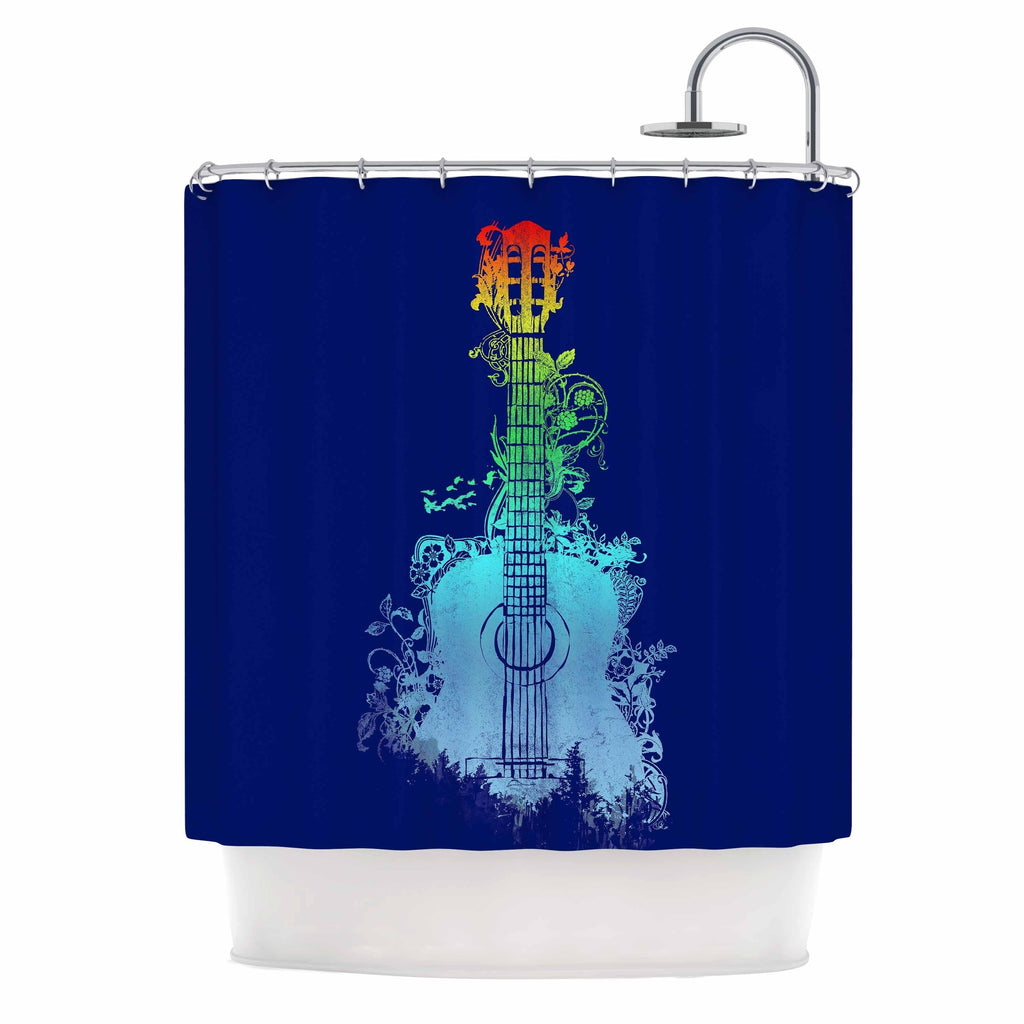 "Frederic Levy Hadida ""nature tune"" Blue Multicolor Shower Curtain Polyester - Diamond Home USA"