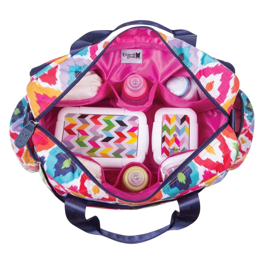 Pink Yellow Large Geometric Diaper Bag Babies Baby Nursery Tote Backpack Carrier Diamond Shape Ikat Jacquard Pattern Design Roomy Changing Pad Zippered Storage Shoulder Strap Cotton - Diamond Home USA