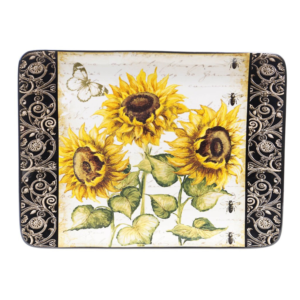 Certified International French Sunflowers Rectangular Platter 16 by 12 Inch - Diamond Home USA