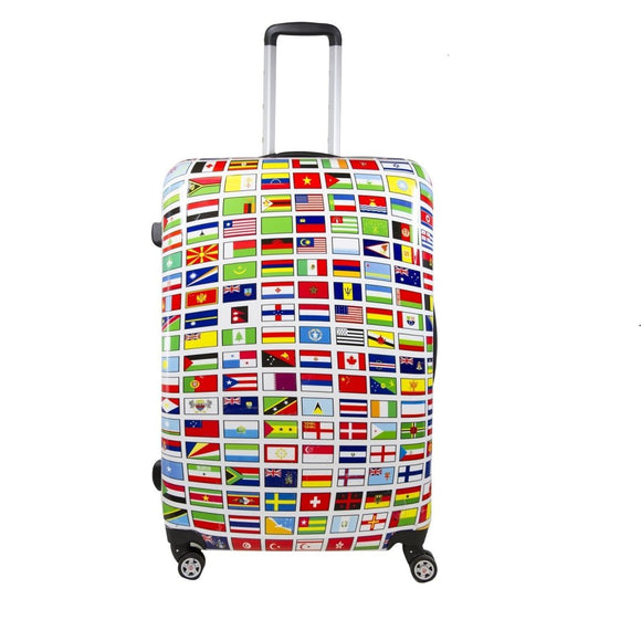 Color World Flags Countries Theme Hardtop Luggage All Country Travel Worldwide Flags Themed Pattern Upright Rolling Lightweight Hardside Hardshell - Diamond Home USA