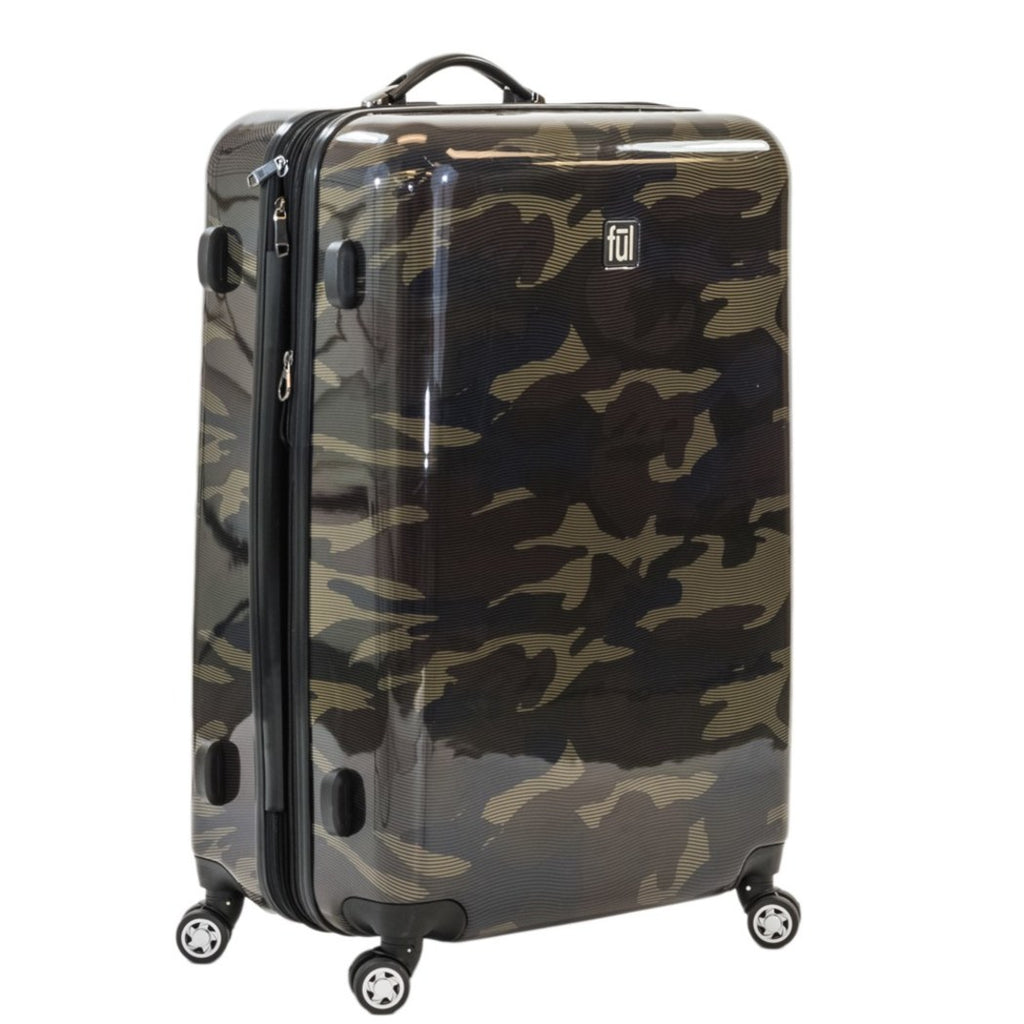Camouflage Green Hardtop Luggage Army Military Carry Camo Upright Suitcase - Diamond Home USA