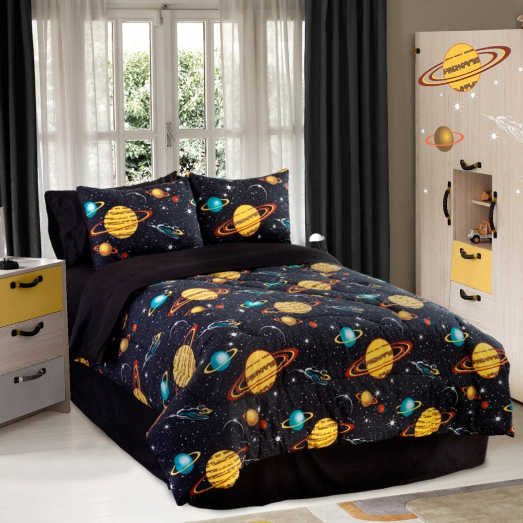 Space Galaxy Glow Dark Twin Comforter Set (3 Piece Bedding) - Diamond Home USA