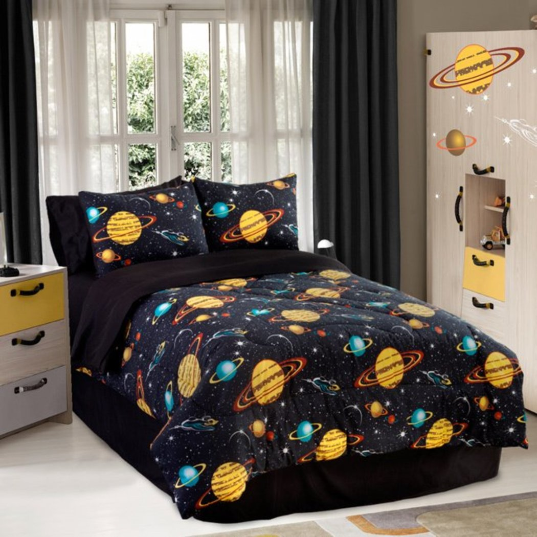 Kids Dark Space Theme Comforter Queen Set Planets Galaxies Stars Natural Minerals Shining Moon Contemporary High End Novelty Pattern Bedding Black - Diamond Home USA