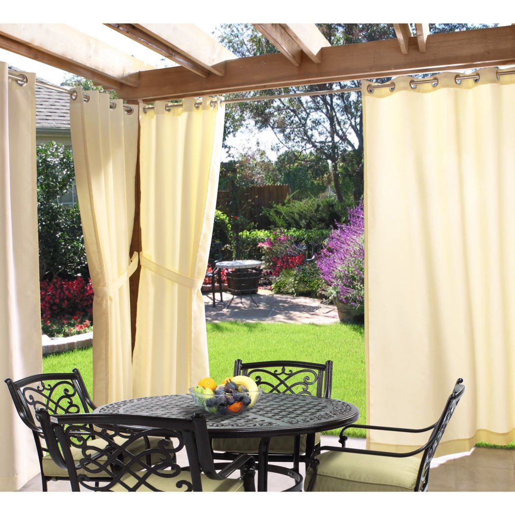 Outdoor Gazebo Curtain Ocean Outside Window Treatment Single Indoor Patio Screen Porch Deck Entrance Door Grommet Ring Top Doorway
