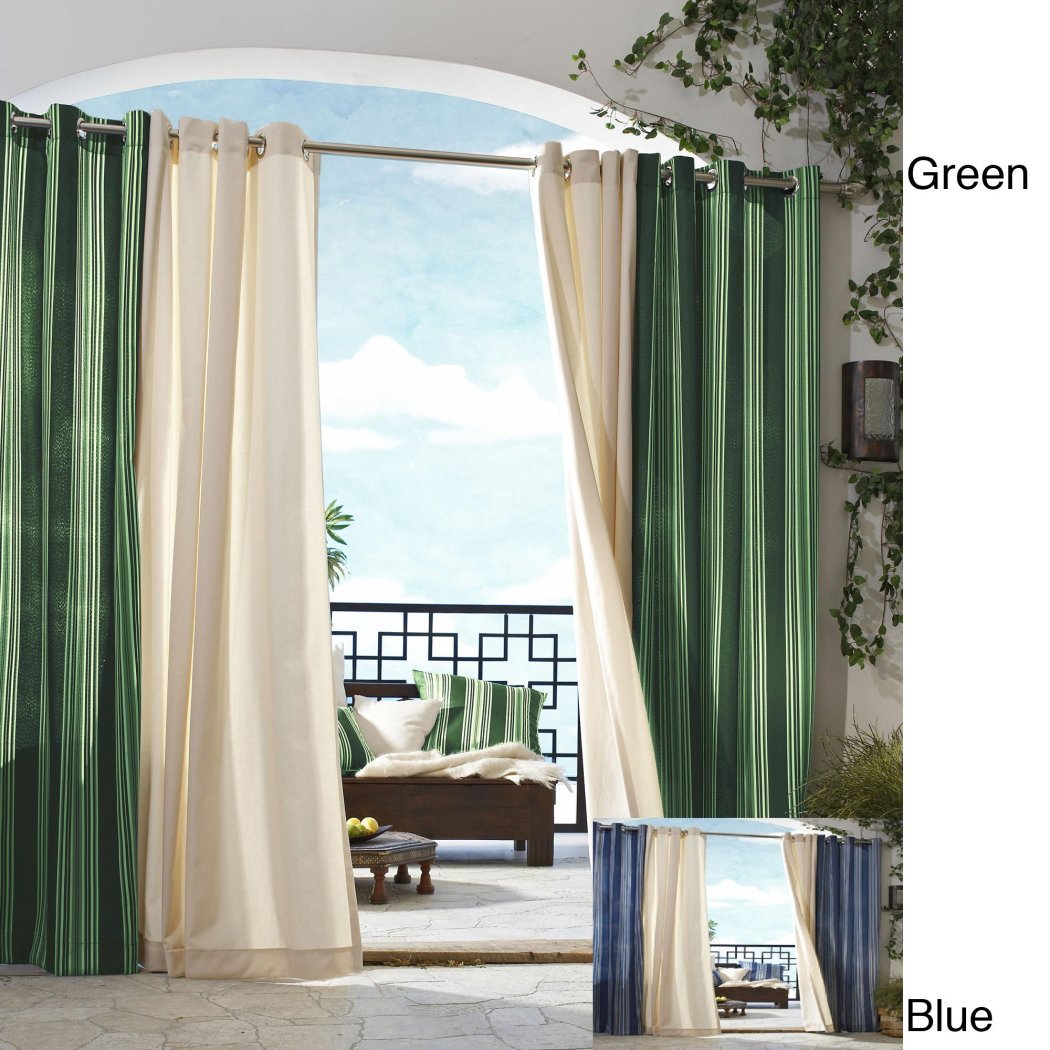 Gazebo Curtain Single Panel striped Pattern Rugby Outside Outdoor Pergola Drapes Porch Deck Cabana Patio Screen Entrance