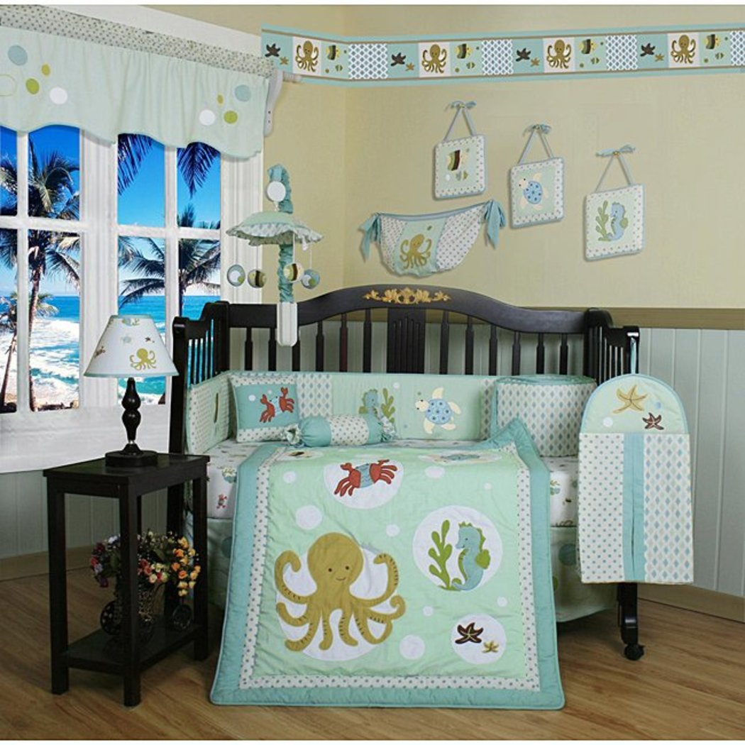 Sea Animals Baby Bedding Crib Sets Neutral Unisex Octopus Seahorse Crab Fish Turtle Starfish Sea Fish Creatures Nursery Beach Undersea Themed Bedding - Diamond Home USA
