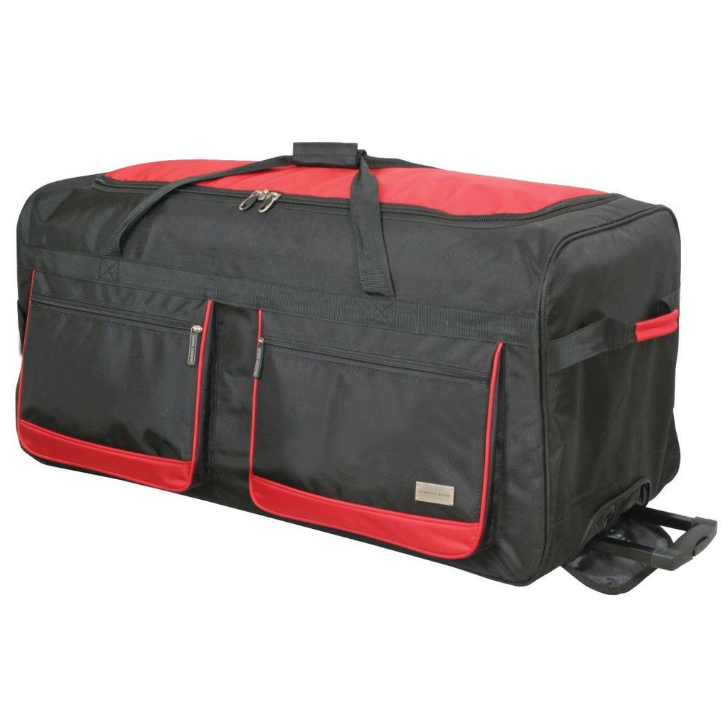 Black/Red Xtra Large Duffel Bag Basic Cargo Rolling Soft sided Polyester - Diamond Home USA