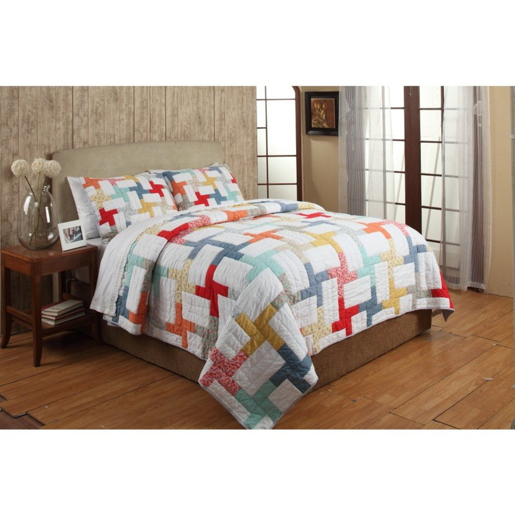 Trendy Quilt Set Block Patchwork Themed Bedding Rainbow Modern Cabin Floral Geometric Pretty Chic