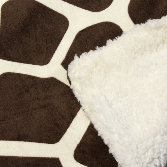 Giraffe Throw Blanket Kids Bedding Dotted Giraffes Animal Zoo Themed Quilted Plain Weaved Sherpa Microplush