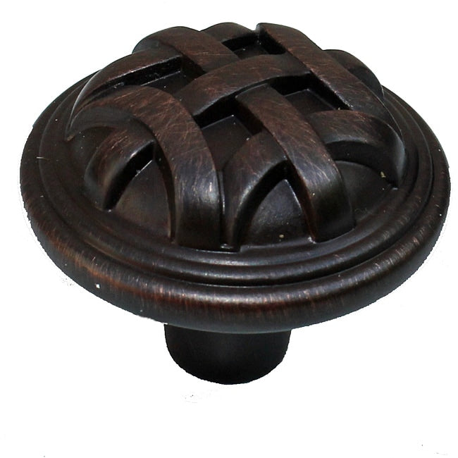 1.25-inch Oil Brushed Bronze Round Braided Cabinet Knobs (Case Of 25) Black Brown Finish - Diamond Home USA