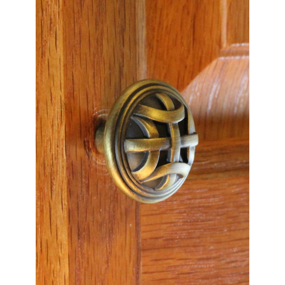 1.25-inch Antique Brass Round Braided Cabinet Knobs (Case Of 25) Metal Finish - Diamond Home USA
