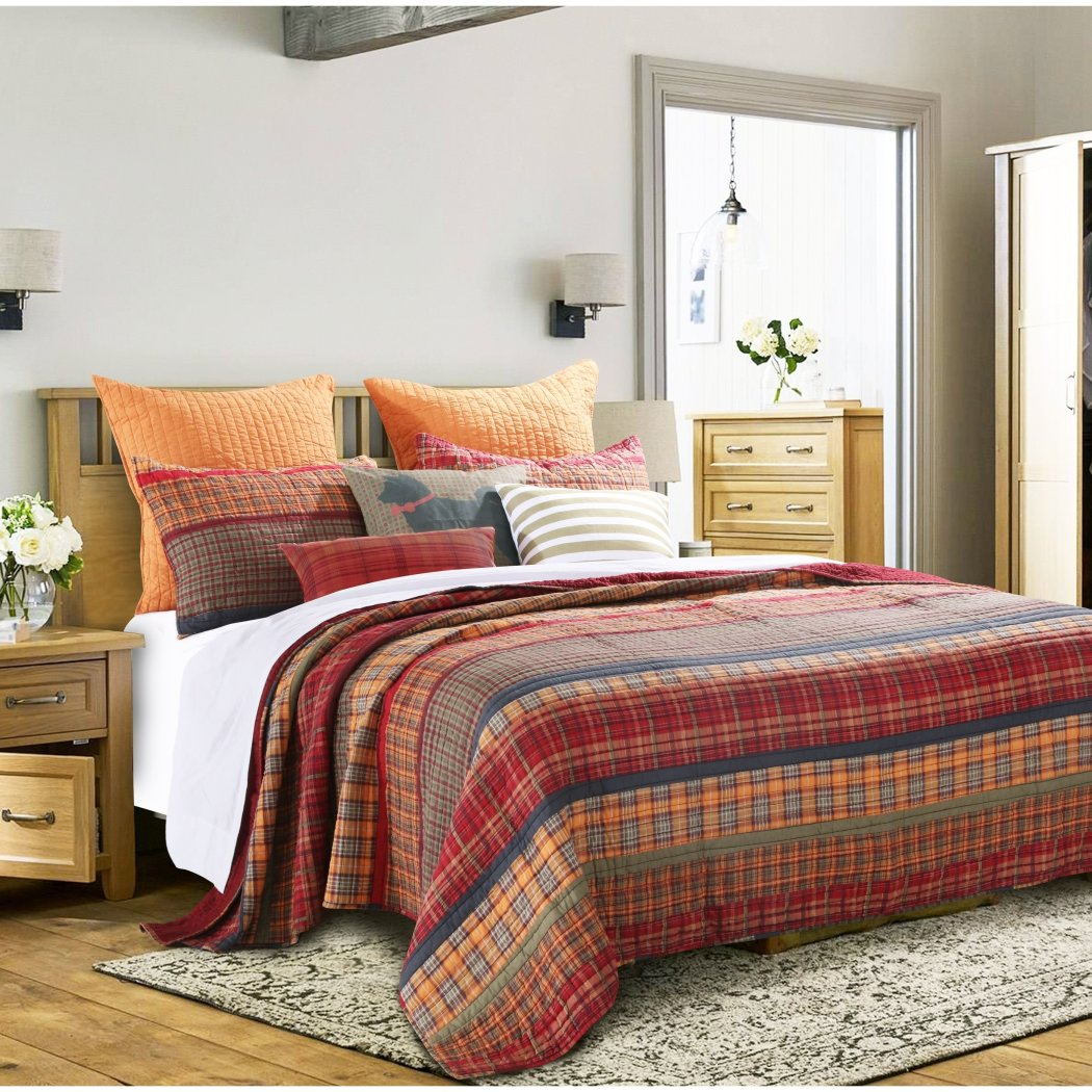 Quilt Set Plaid Pattern Bedding Tartan Patch Themed Checkered Cozy Stylish Cabin Lodge Cottage Warm Trendy Stripe